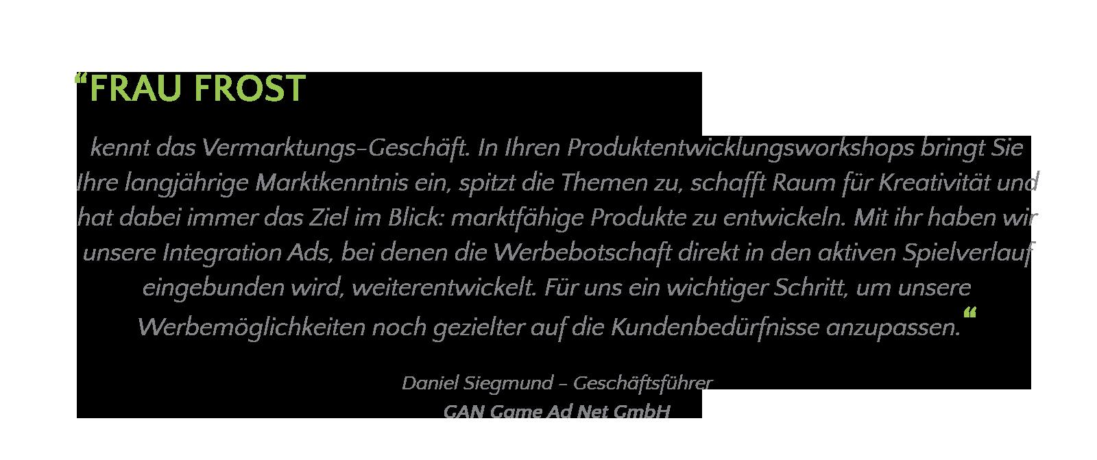 Carola Frost Produktentwicklung Media Empfehlung