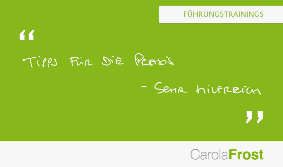 Carola Frost_Beurteilung_Führungstrainings
