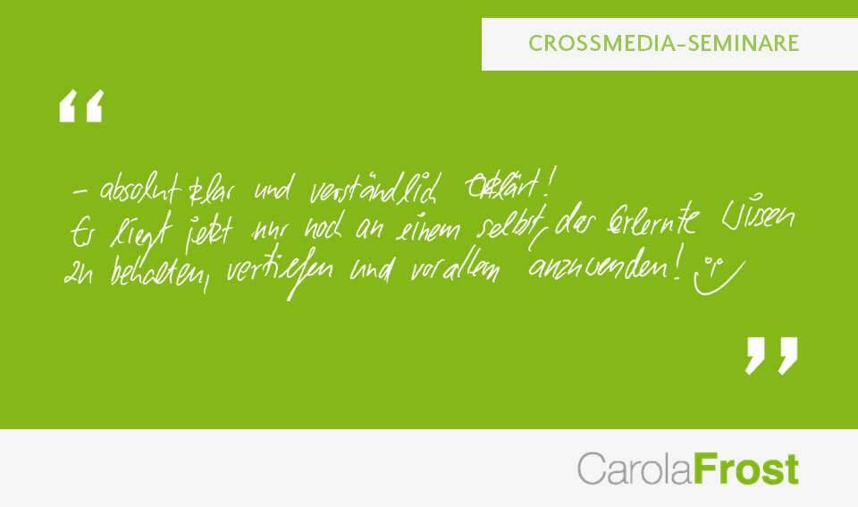 Carola Frost_Bewertung_Crossmedia