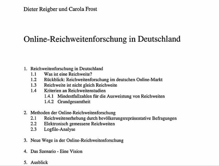 Artikel von Carola Frost und Dieter Reigber aus Reichweitenforschung in Deutschland