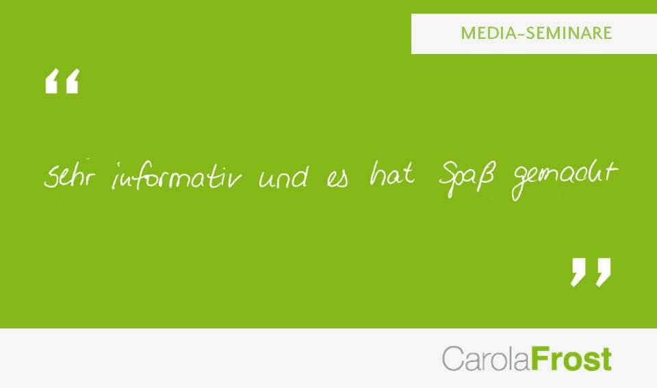 Carola Frost_Teilnehmerfeedback_Mediawissen