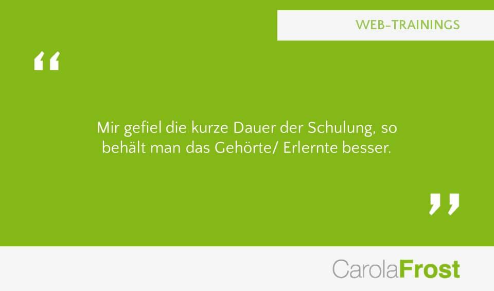 Carola Frost Webinar Mediawissen Training