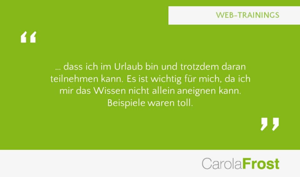 Carola Frost Webinar Verkaufsschulung Mediawissen Training