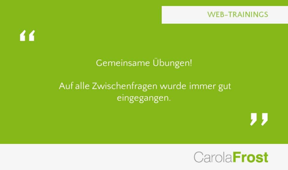 Carola Frost Webinar Verkaufsschulung Training